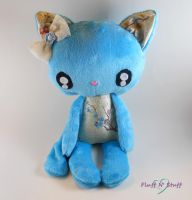 Kawaii Cherry Blossom Blue Kitty by SailorMiniMuffin
