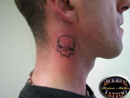 Skull on Neck by theothertattooguy