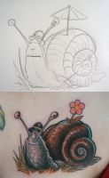 snail tattoo and sketch by graynd