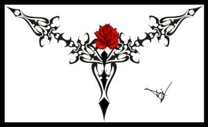 Gothic Lace Print Red 06 by Quicksilverfury