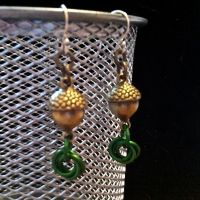 The Hobbit Acorn Mobius Chainmaille Earrings by Rosie-Periannath