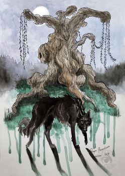 Whomping Willow - Inktober 7 by RaggedVixen
