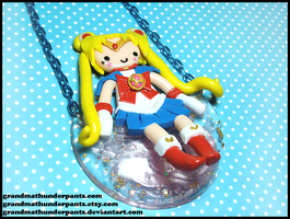 Sailor Moon on the Moon Necklace by GrandmaThunderpants
