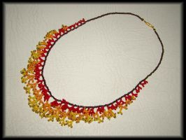 Red-orange-yellow coral necklace by jasmin7