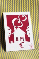 Cute Love House ACEO by quirkandbramble