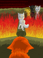 Ashfur in the fire by xXTwistedRainbows