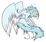 Adoptable Winged wolf (OPEN) by HawkFrostDM