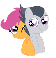 Rumble and Scootaloo by schwarzekatze4