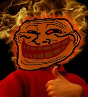 Flaming Troll Face by TickleBerryDude