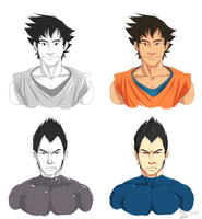 Screentoning and Digital Coloring GOKU AND VEGETA by Afterlaughs