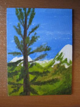 Tree and Mountain by HB-Thorburn