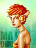 Girl with headphones by MauroIllustrator