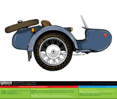 Dnepr Sidecar (USSR) (Color) [vector source] by OlegLevashov