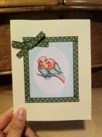Lovebirds Card- Green Polka by PinkBunnie