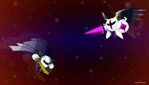 Meta Knight Vs Galacta knight by darklinksmash