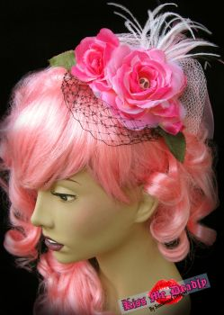 Kiss Me Deadly- Pink black rose fascinator by SoulboundDesigns