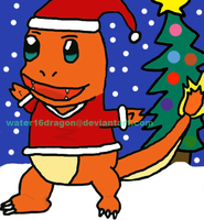 Charmander in a santa suit by water16dragon