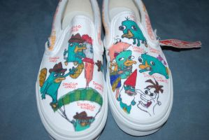 Perry the Platypus shoes by littlehalfasianninja