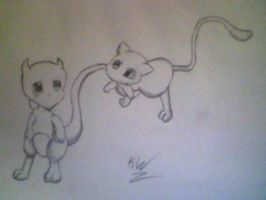Chibi Mew and Mewtwo by KayceeMuffins