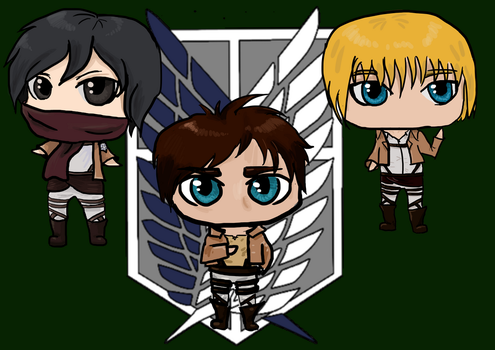 Attack on titan chibis by Moro14