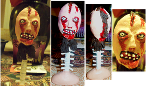 Bloody Face's mask on a human spine and skin stand by BlindBirdWatcher