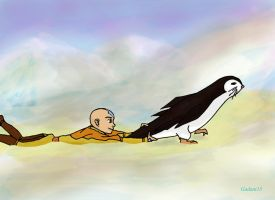Aang catches a penguin by Gadani13