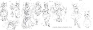 Gijinka Doodles Female Friends by JessySketches