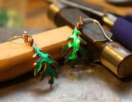 Oak Leaf Earrings by DariusSilver