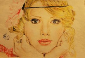 Taylor Swift color drawing by joksie