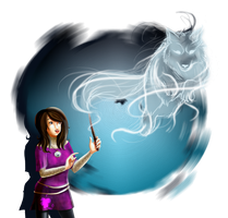 Expecto Patronum: A Brave Wolf by Miscellaneously-Kina