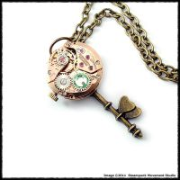 Steampunk Copper Key of Hearts by SoulCatcher06