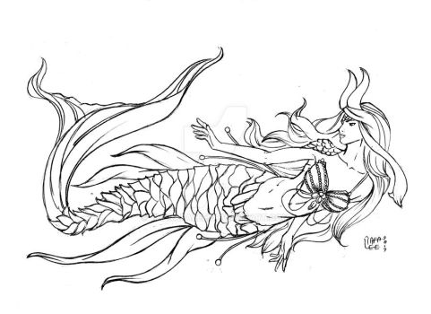 Mermaid - Line art commission by TheRafaLee
