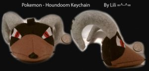 Houndoom Head Plush Keychain by LiliNeko
