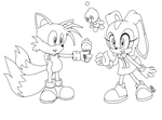 Tails and Cream -Lineart- by Rhay-Robotnik