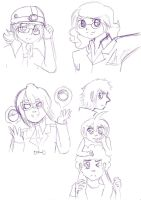 Pokemon E4 and Leader sketches by bright-as-a-button