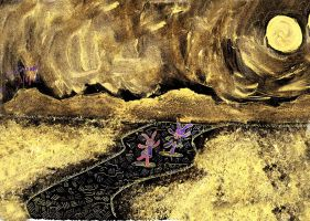 Little Art 01 Rabbits under the moonlit field by lady-storykeeper