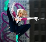 Spider-Gwen vs Tentacles by qwerty6699
