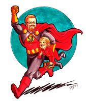 Super Dad and His Sidekick by MelZayas