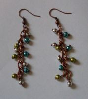 Red copper earrings by MadDani