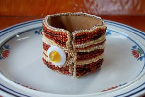 Bacon and Egg bead embroidered bracelet by dogzillalives