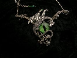 Green Eye Dragon Choker Necklace - Pewter Forest by LadyPirotessa