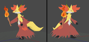 delphox v2 papercraft preview by javierini
