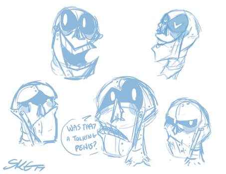 Samurai Jack:: Scaramouche Expression Sketches by SpaceJacket
