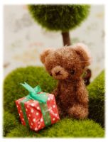 Needle Felted Birthday Bear Fr by bobbin4apples