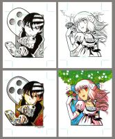 Anime sketch cards by Sonion