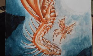 fairy and dragon acrylic by Morbidspider27