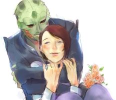 Thane and Shepard by fugenlove