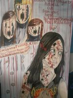 Gothic Girl Surrounded by Contorted Faces by IsabellaTwibell