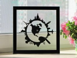Around The World Handmade Original Papercut by DreamPapercut