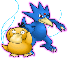 Psyduck and Golduck by Ninjendo